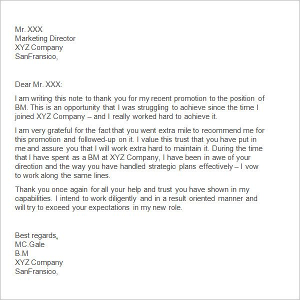 Sample Thank You Letter Boss Free Documents Download Word