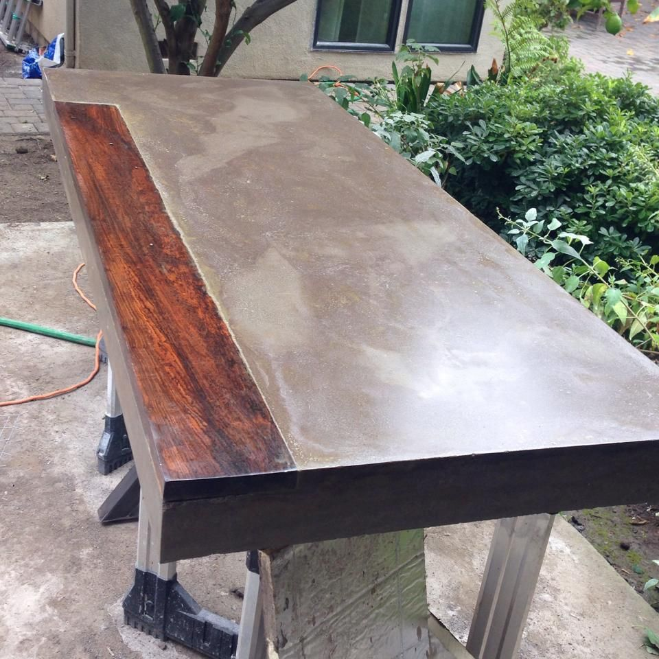 Work 6' Long Concrete Dining Table With Inlaid Mexican