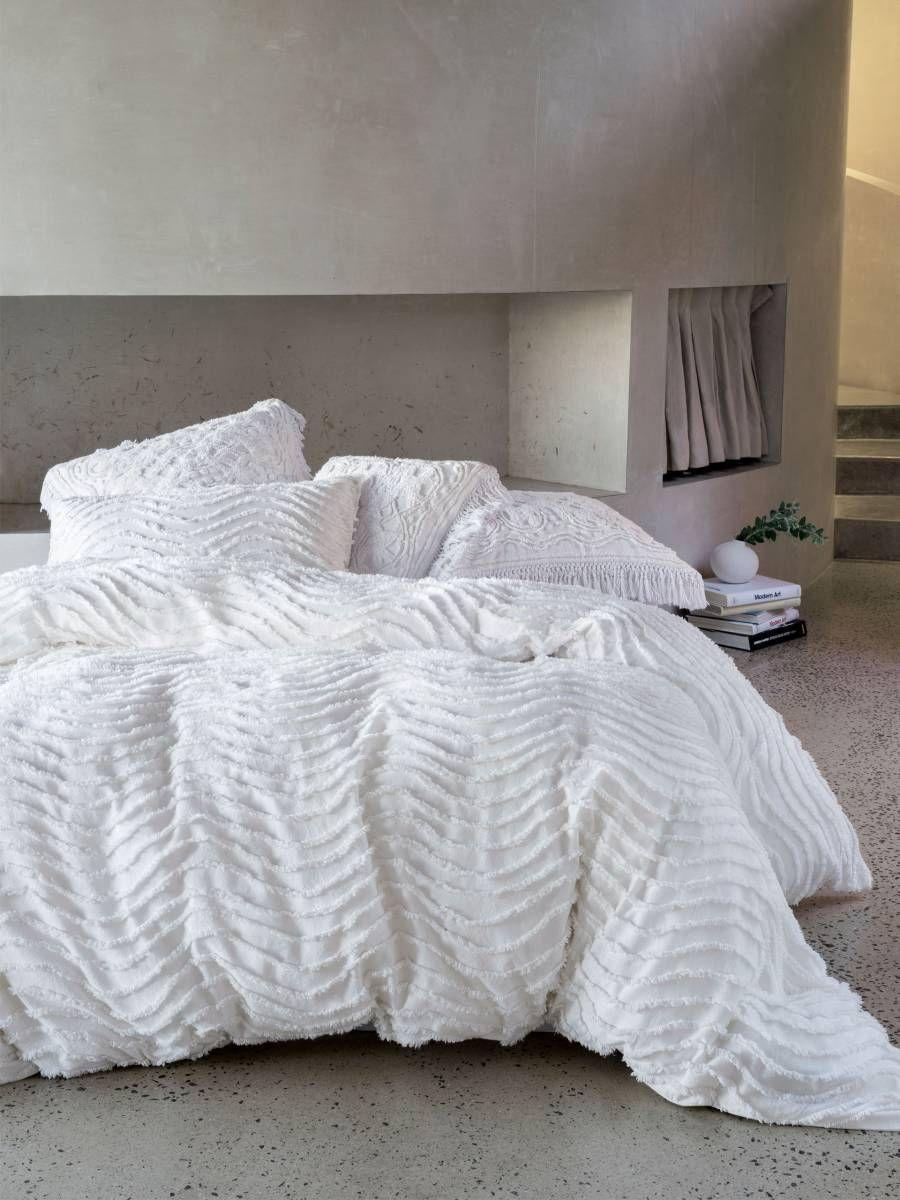 Drift White Quilt Cover Set Modern Chenille Contemporary Bedding Textured Bedding Boho Bedding Vintage Bedd White Quilt Cover Textured Bedding Vintage Bed