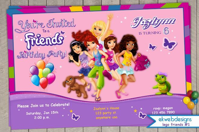 Invites Lego Friends Birthday Party Cake Girls