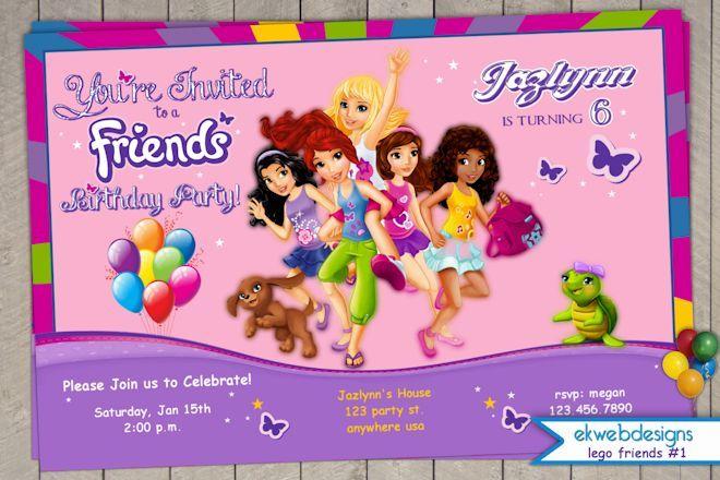 lego friends birthday invitation