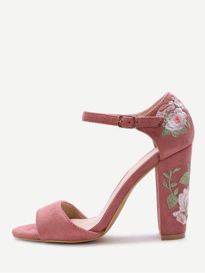Sandalias de tacón grueso del bordado de la flor rosada  d32081b6d2e5
