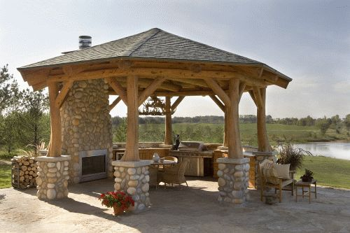 Gazebo With A Kitchen And A Tv Hybrid Log Homes 1 2
