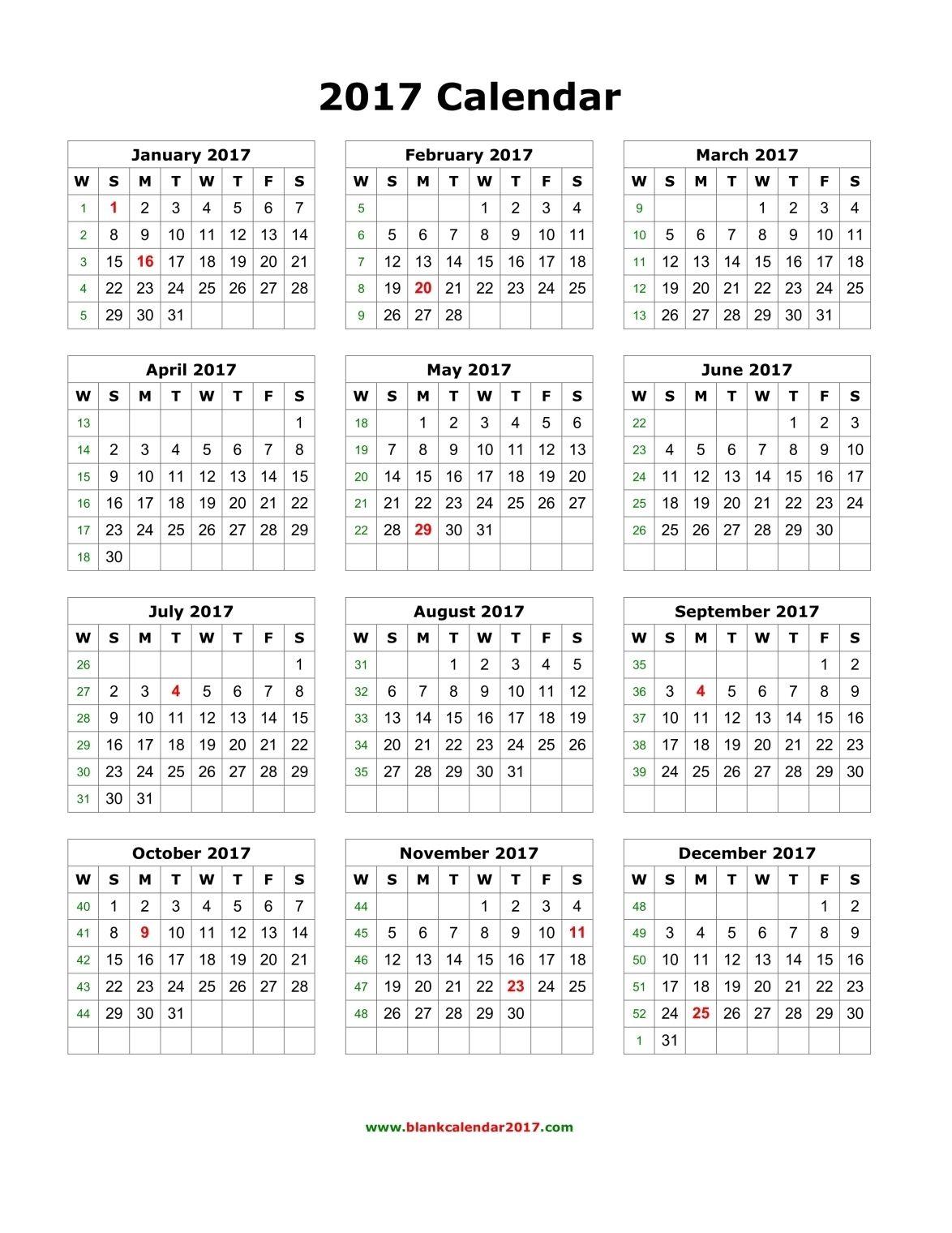 Blank Calendar 2017 Monthly calendar template, Printable