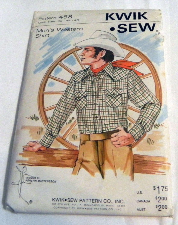 Mens western shirt sewing pattern kwik sew 458 chest size 42 by mens western shirt sewing pattern kwik sew 458 chest size 42 by retroactivefuture jeuxipadfo Images