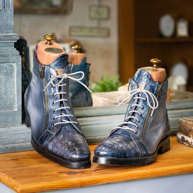 ID#41CNV62 Paul Parkman Navy Genuine Crocodile /& Calfskin Side Zipper Boots