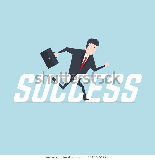 Businessman Running Success Message Stock Vector Royalty Free 1161574225 Success Message Business Man Messages