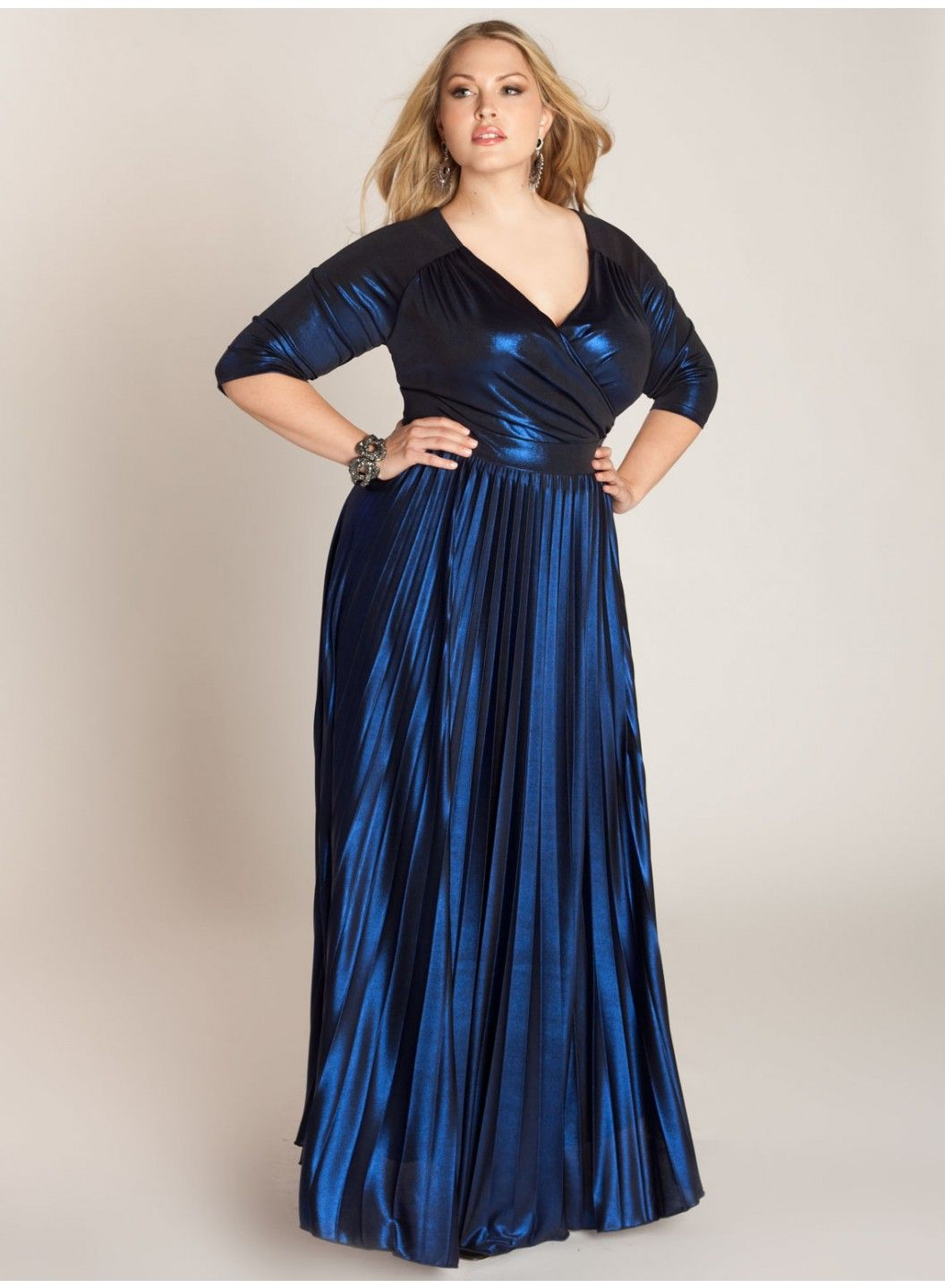 Deep lapis blue metallic glowing dress with surplice bodice and deep lapis blue metallic glowing dress with surplice bodice and pleated full skirt designed and ombrellifo Image collections