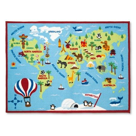 Activity World Map Area Rug 40 X54 Multicolor Pillowfort Target