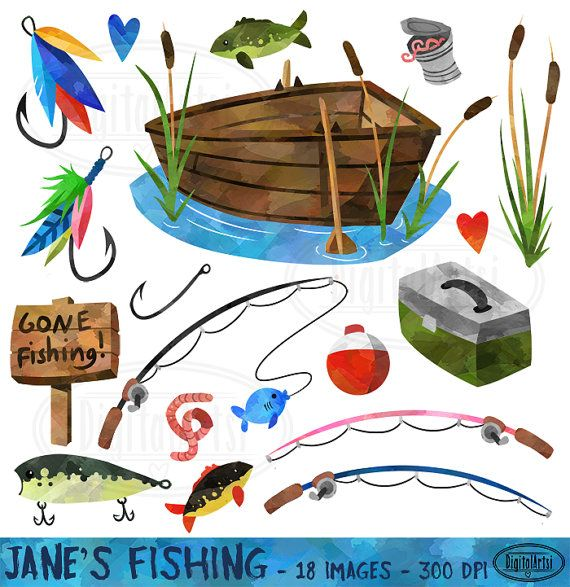 Watercolor fishing clipart fishing items download for Fishing supply stores