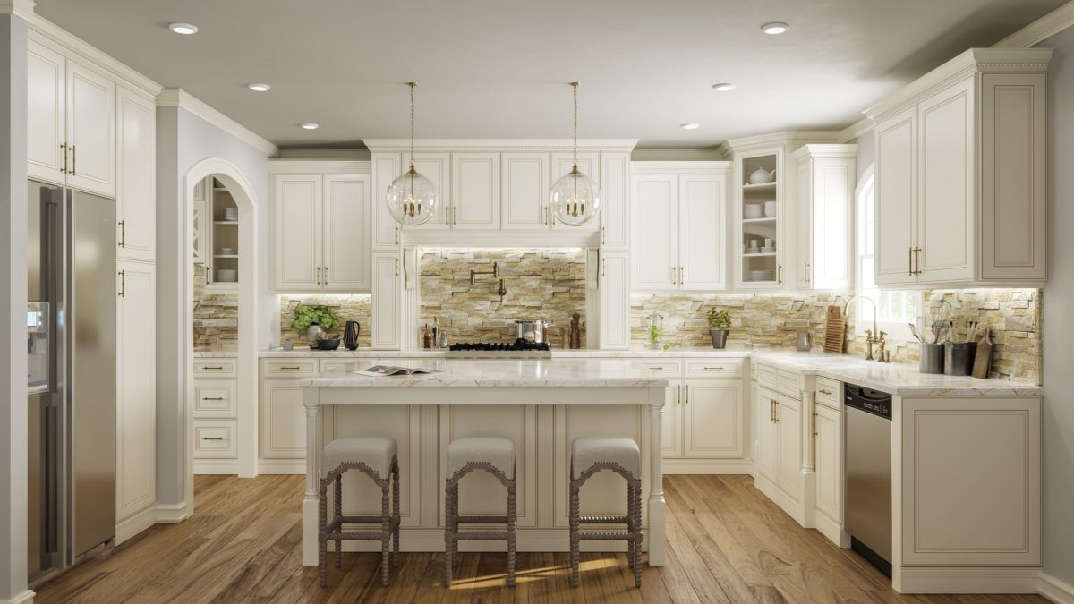 Kitchen Cabinet Depot US CabiDepot York Antique White   Waverly Cabinets | Classic