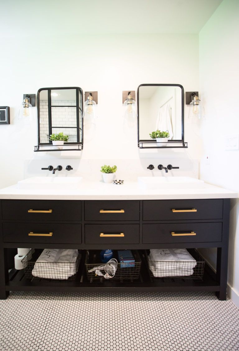 Photo of Black and white bathroom for our boys to have + host