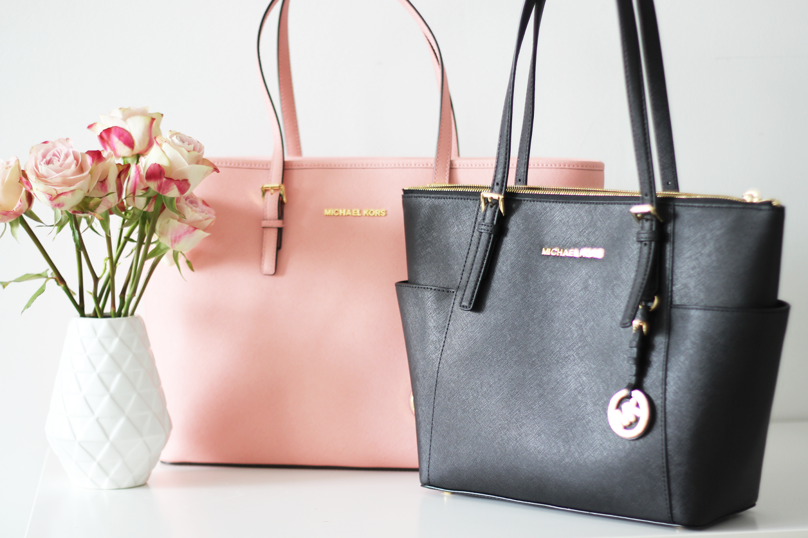 57e9abc07a8739 New In / Michael Kors Jet Set Travel Shopper #Michael #Kors #Handbag #Jet # Set #Shopper #Black #Pale #Pink #Pastel #Fashion
