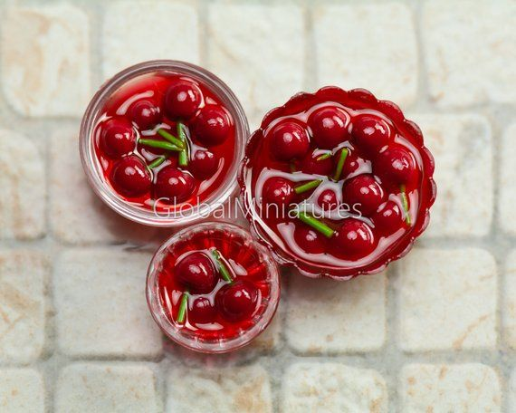 Dollhouse Miniatures Set of Clear Plastic Bowl and Cup of Cherry in Syrup