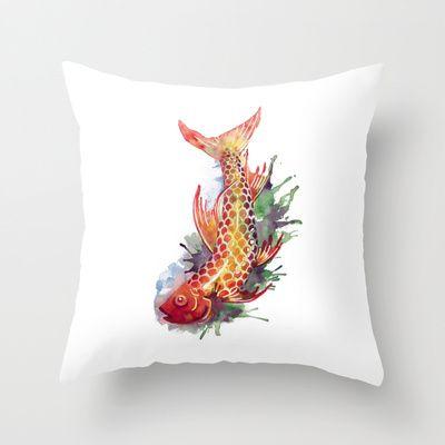 Fish Splash Throw Pillow by S Nagel - $20.00