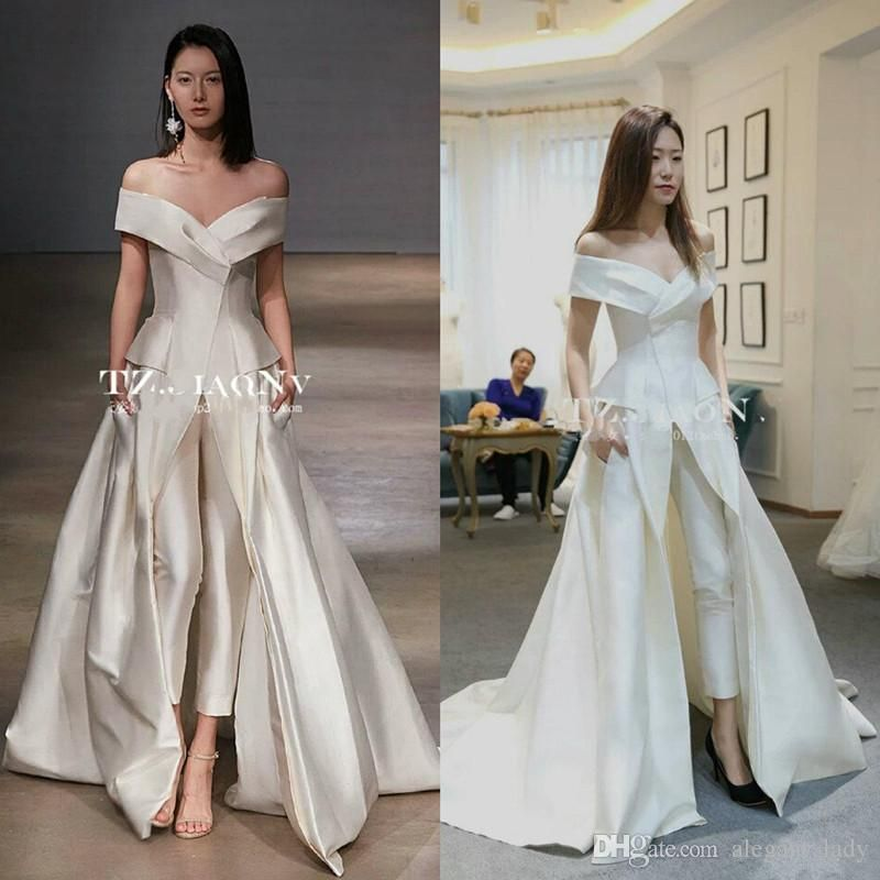cf81c231a Women Jumpsuit With Long Train Wedding Dresses 2018 White Off Shoulder  Sweep Train Elegant Zuhair Murad