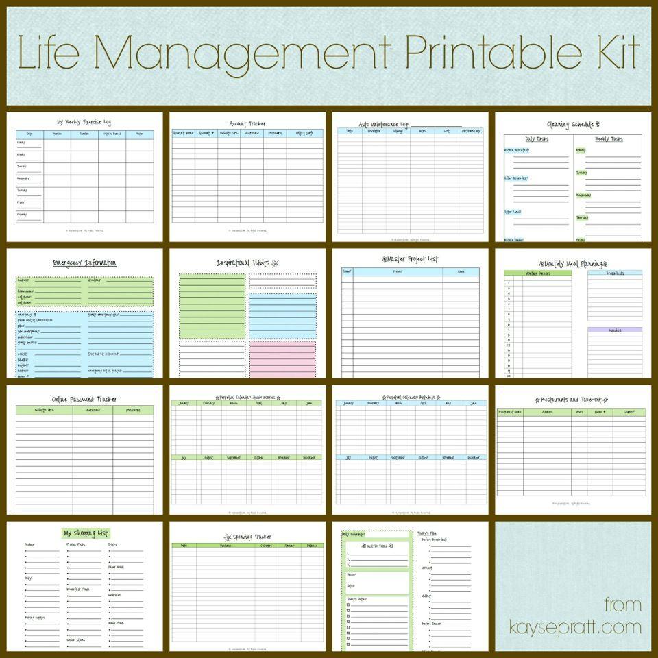 Printable Calendar Kit : Life management printable kit includes these printables