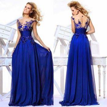 Vestido de Noche de Gala Azul Real   Vestidos de Fiesta Baratos Blog ... 9a605b80fbb7