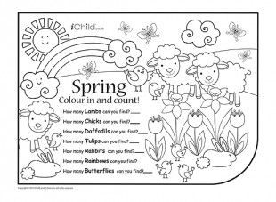 print this spring colour in and count activity count how many spring animals and flowers - Spring Pictures To Colour