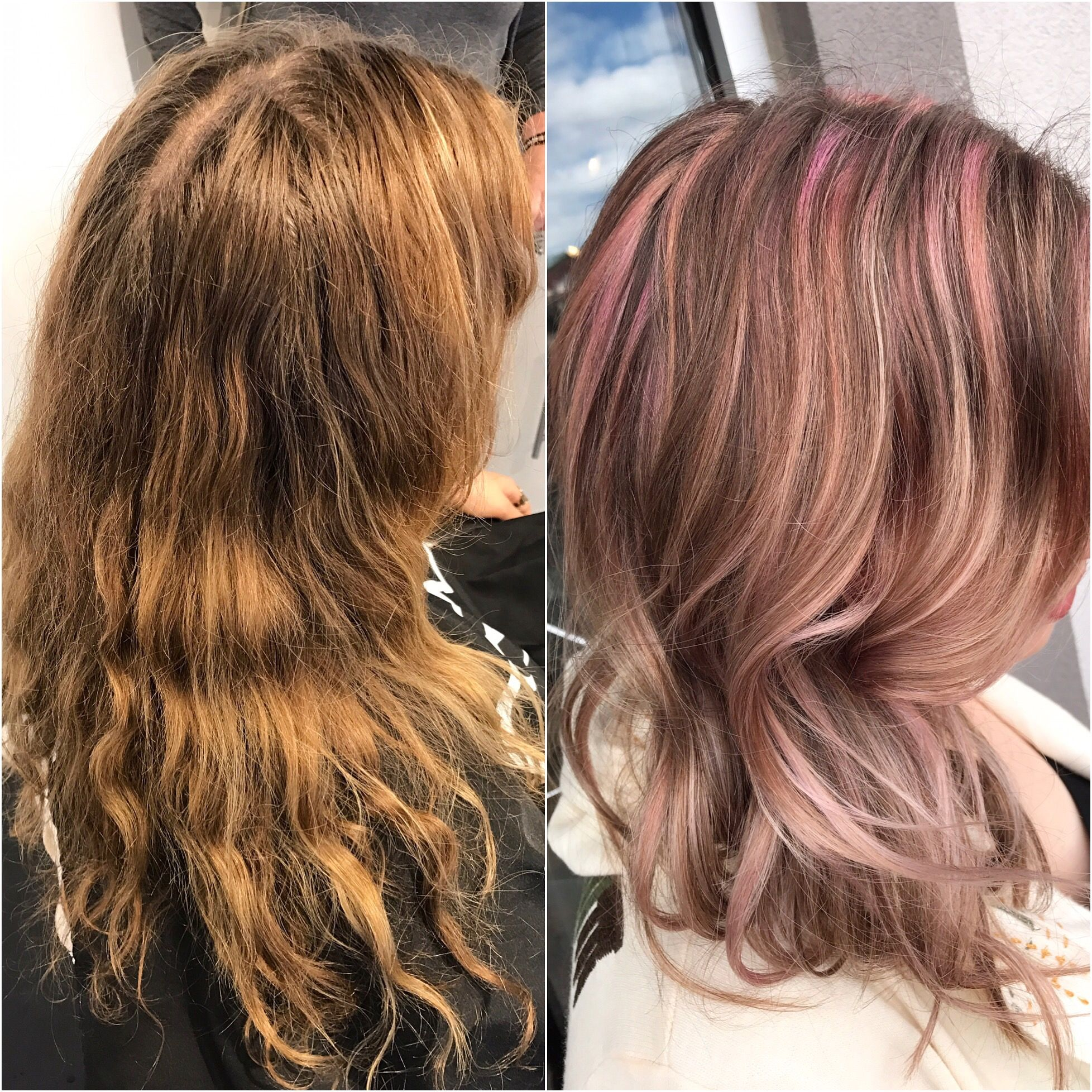 Before And After Pastel Pink Hair Hair Transformation Hair Transformation Pastel Pink Hair Pink Hair