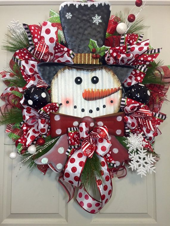 Christmas Wreath, Snowman, Whimsical, Black, Christmas Mesh Wreath