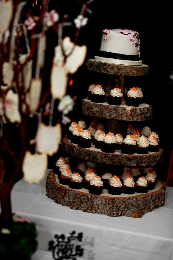 tree bark wedding cake stand rustic wood tree slice 4 tier cupcake stand for your 21249
