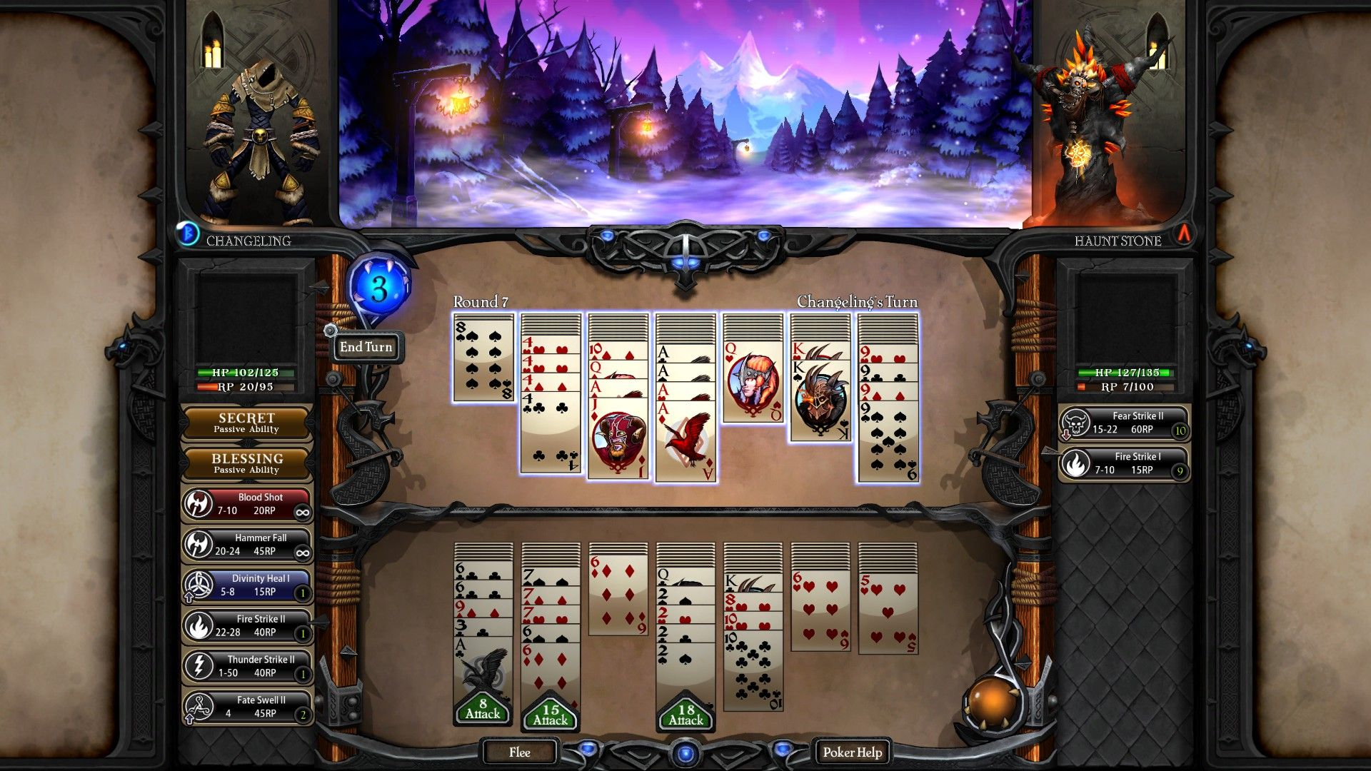 cool card game layout.