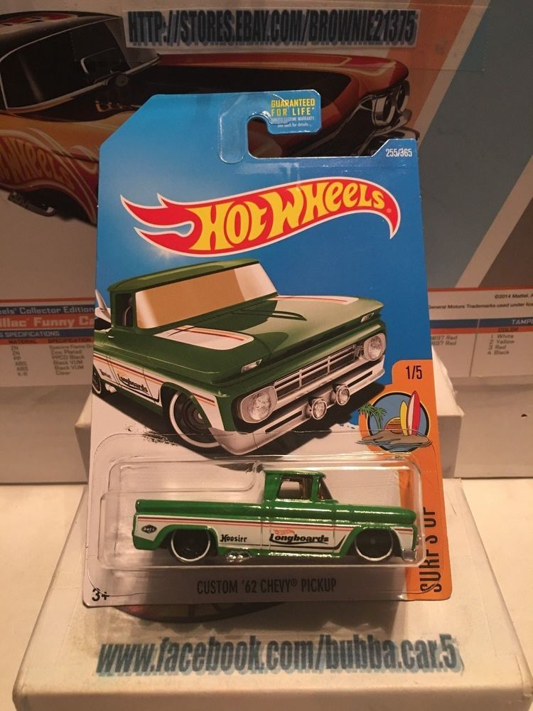 Hot Wheels 255 Custom 62 Chevy Pickup Truck Green Surfs Up 1 5