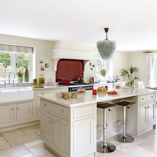 Glamorous Modern Country Kitchen With Red Splashback With Images Country Kitchen Modern Country Kitchens Country Kitchen Layouts