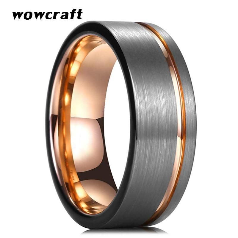 Mens Tungsten Wedding Band Single Offset Groove 8mm