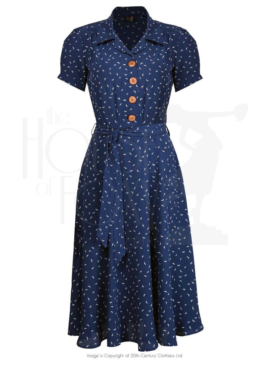 1940s Shirt Waister Dress in Navy Starling Bird Print | Vintage ...