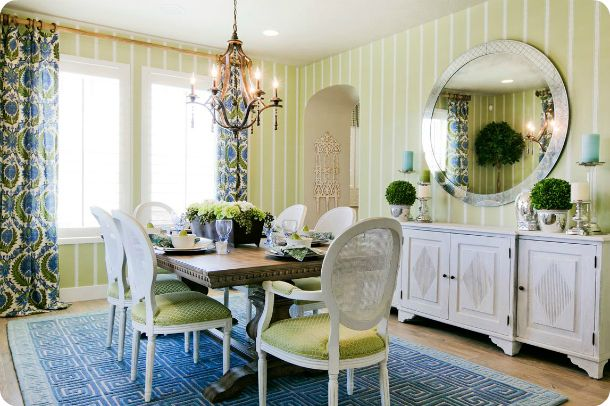 Cobalt Blue And Kelly Green Dining Room Decor