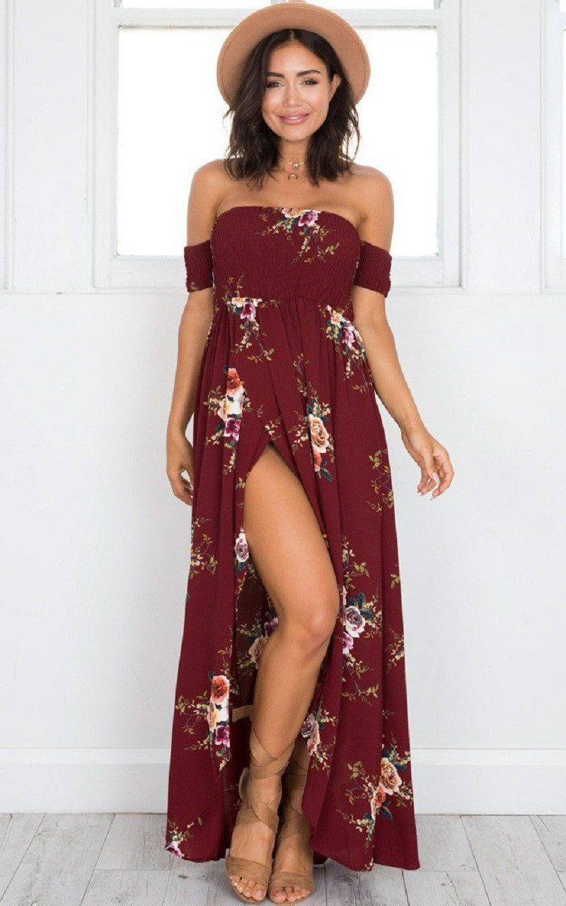 Off shoulder cut floral print dress products pinterest products