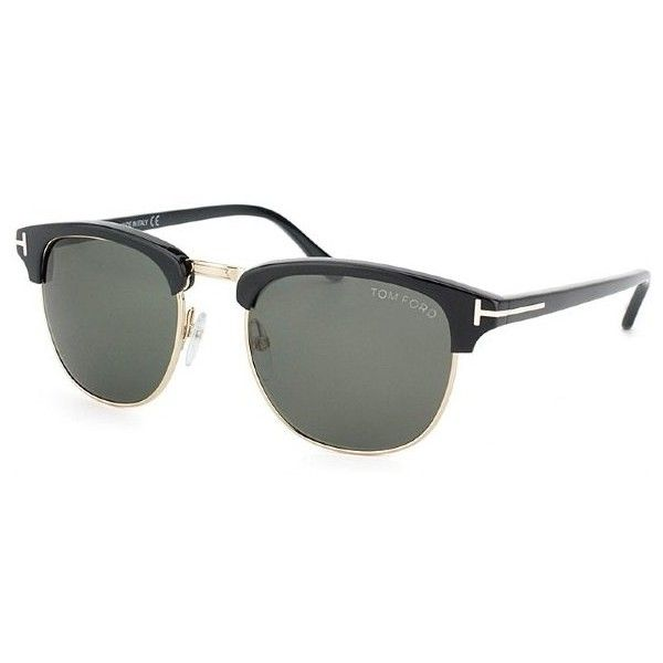Tom Ford TF248 Henry 05N Black & Gold Clubmaster Style Sunglasses Grey... (990 RON) ❤ liked on Polyvore featuring accessories, eyewear, sunglasses, vintage glasses, tom ford sunglasses, black lens sunglasses, black retro sunglasses and gold lens sunglasses