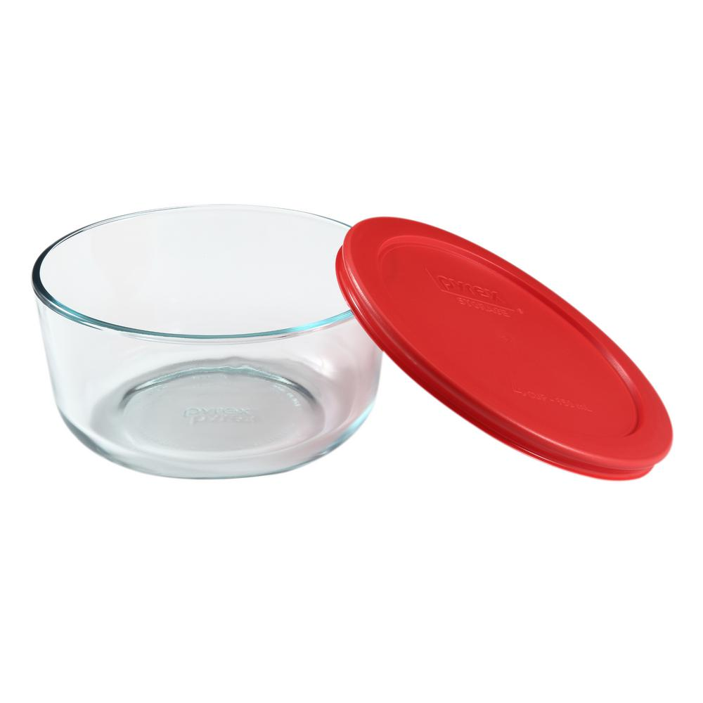 Pyrex Simply Store 4 Cup Round Glass Storage Container With Red Lid 1075428 Glass Storage Containers Glass Food Storage Food Storage Containers