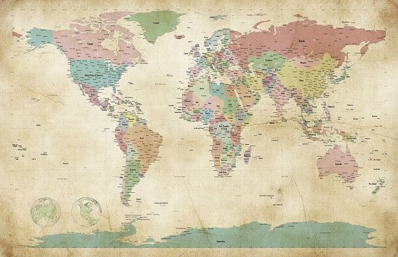 World Map Old Style.Political Map Of The World Map Old Style Art Print 24x36 Inch 946