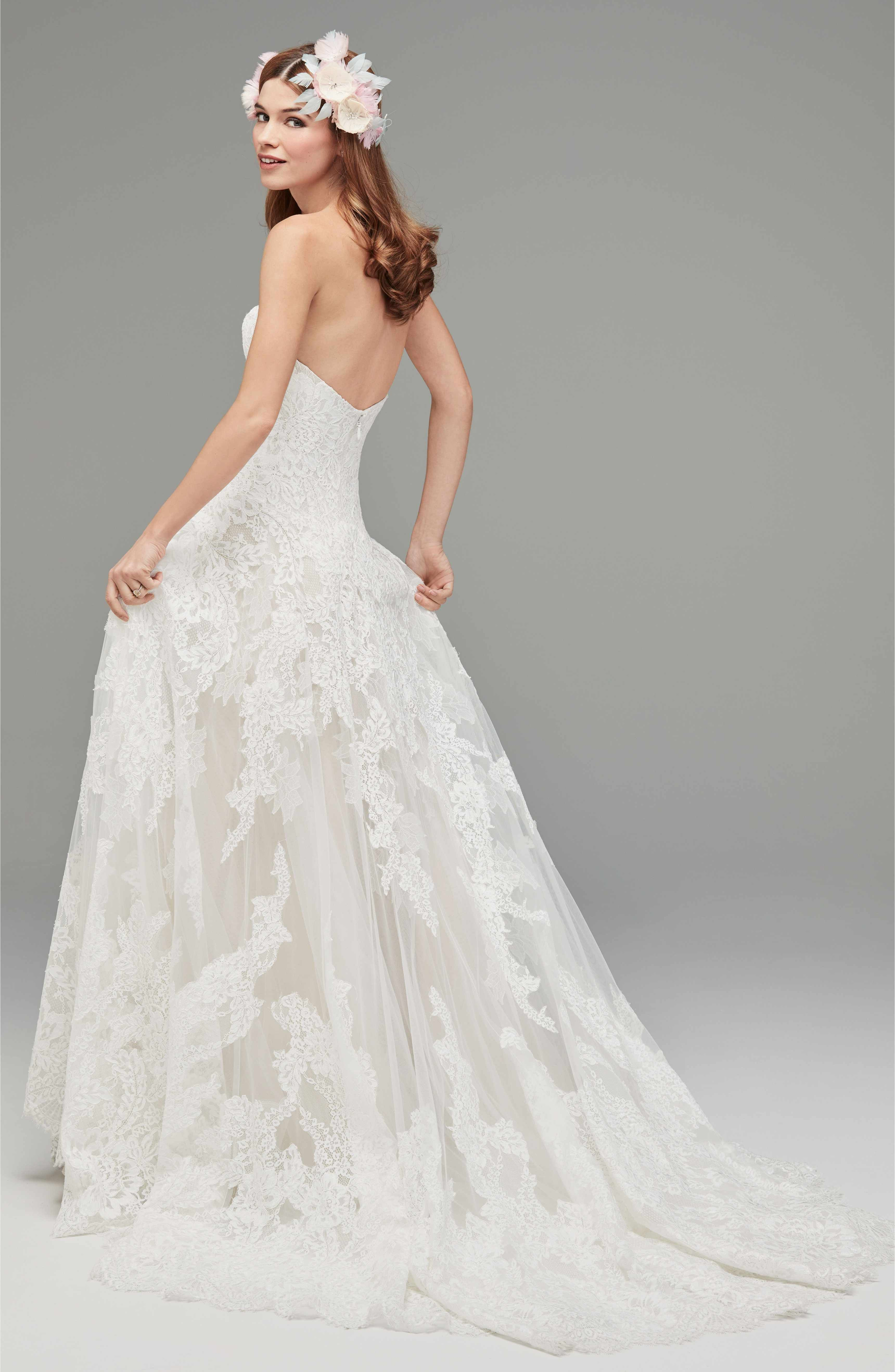 Watters Lyric Strapless Lace Drop Waist Gown Designer Wedding