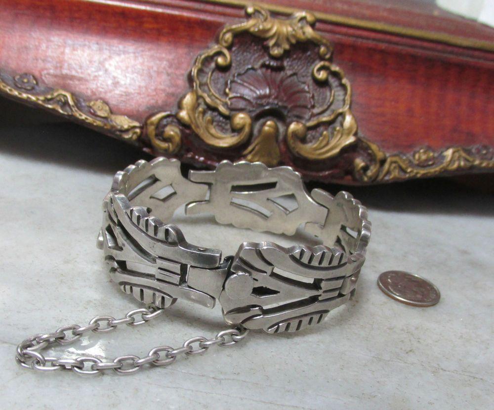 Art Deco Vintage Sterling Silver Super Heavy Rare Taxco Mexican Bracelet