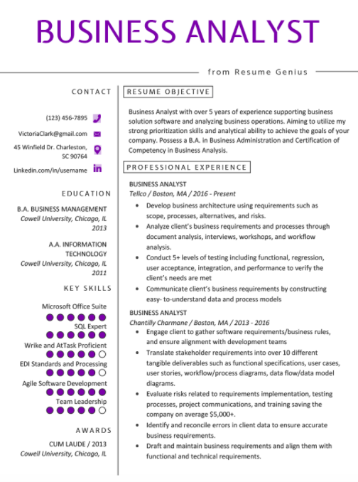 Top Business Analyst Resume Templates 2020 Business Analyst Resume Business Resume Business Analyst