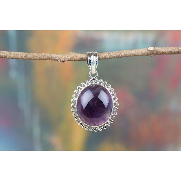Beautiful Designed Handmade Purple Amethyst Sterling Silver Pendant via Polyvore featuring jewelry, pendants, amethyst jewellery, amethyst pendant, charm pendant, purple jewellery and sterling silver charms pendants