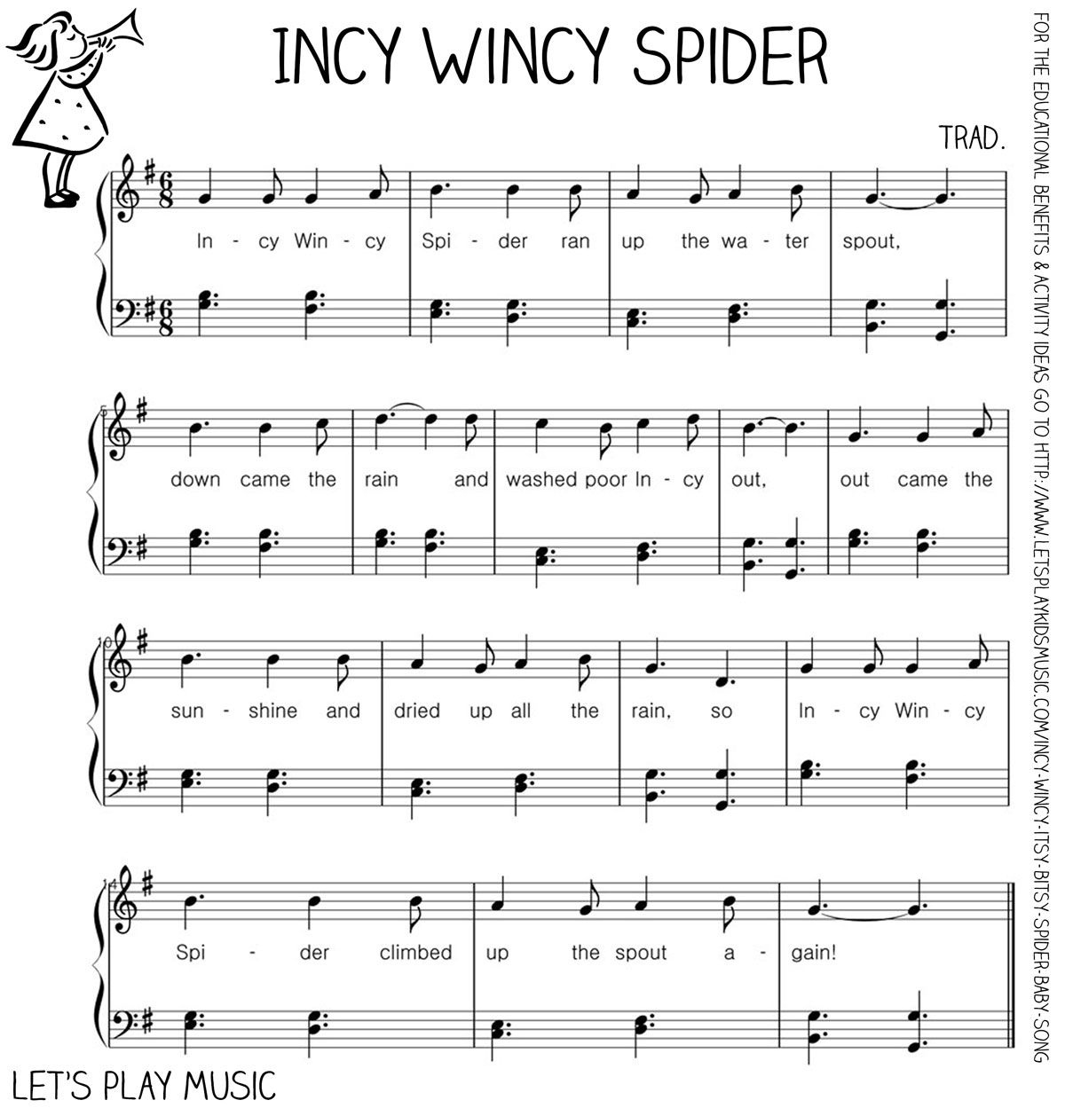 Grenade Free Piano Sheet Music With Lyrics: Incy Wincy Spider : First Nursery Rhymes