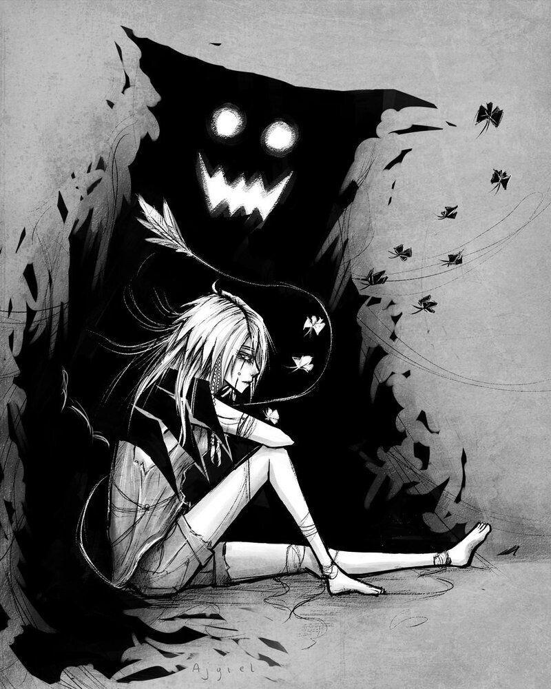 Anime Bilder Traurig Pin Von Couffe Auf Ellos Vienen De Noche Y En Silencio Dark Anime Gruselige Kunst Traurige Kunst pinterest