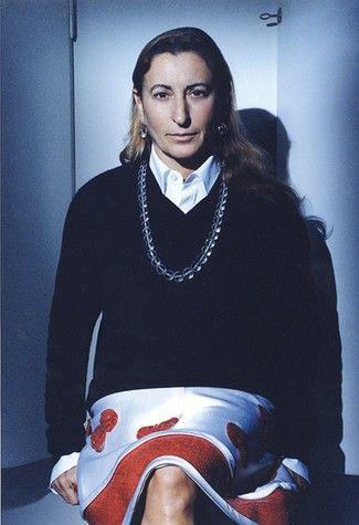 3c7db10f542d7 Miuccia Prada (aka Miu Miu) Designer. Has made the skirt focal point of an  outfit.