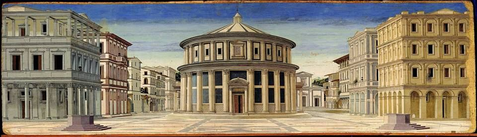 Città Ideale Artista sconosciuto Tempera su tavola, 1480-90 Galleria Nazionale delle Marche, Urbino - Ideal City unknown Artist Tempera on panel, 1480-90 Galleria Nazionale delle Marche, Urbino