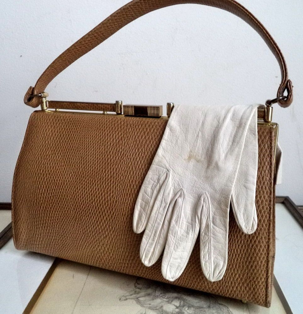 Mayer NY Tan Gold Lizard Leather Retro 50s Top Handle PERFECT frame bag purse