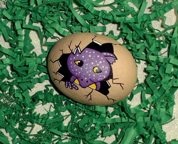 Baby dragon egg, hatchling, spring summer garden decor, fairy garden, bird nest, hand painted rocks by RockArtiste, $25.00