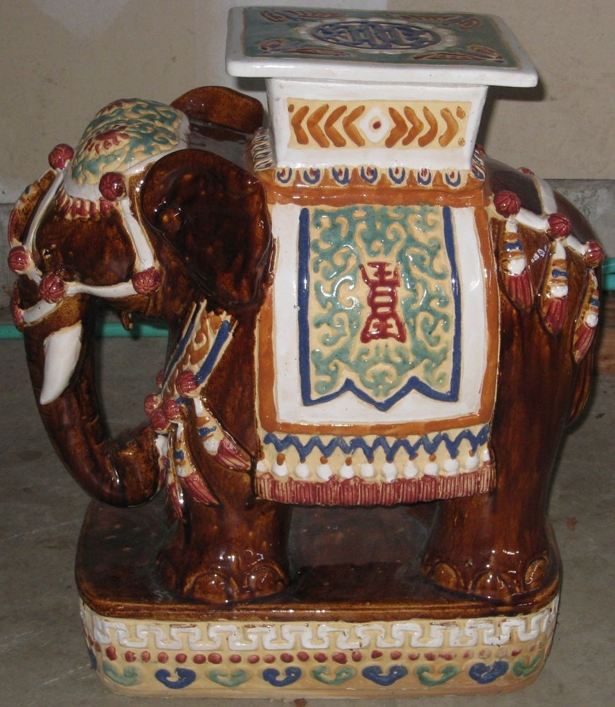 Vintage Hollywood Regency Ceramic Elephant Garden Seat/Plant Stand