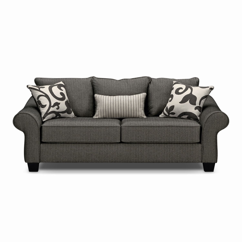 New Value City Sleeper Sofa Art Harlow Gray Full Memory Foam