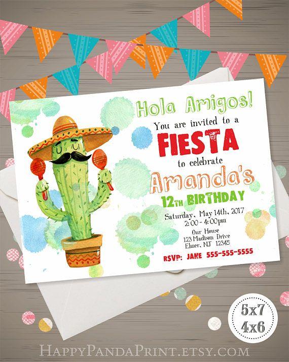 Fiesta Invitation Birthday Watercolor Cactus Mexican Party Mex