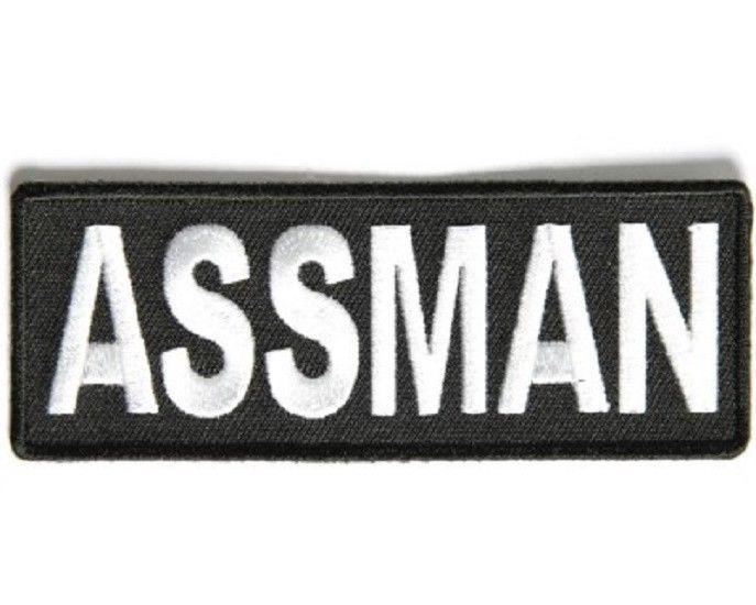 """Q 3426 Biker vest Jacket Cap Hat ASSMAN  4/"""" x 1.5/"""" iron on patch"""